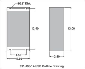 outline drawing 091-195-12-usb