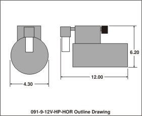 outline drawing 091-9-12v-hp-hor